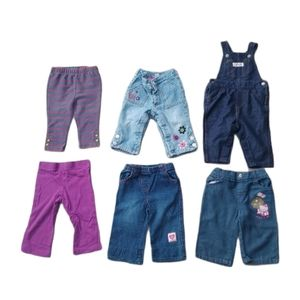 Lot of 6 Girl's Pants/Overalls, Mixed Brands, 6-12